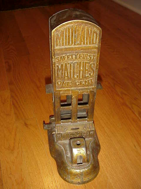 Rare Midland Match Dispenser Cast Iron Coin Op Gameroom Show