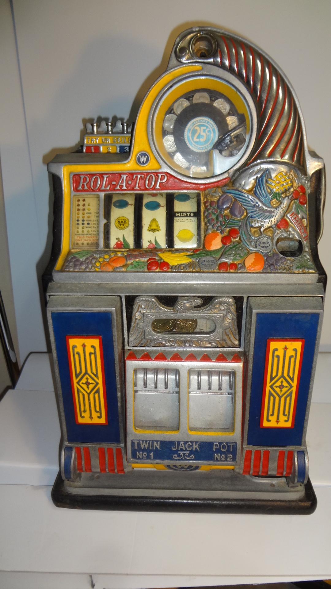 "25 Cent Watling Rol-A-Top ""Bird Of Paradise"" Slot Machine ..."