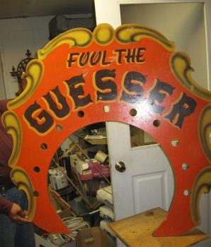 "Vintage ""Fool The Guesser"" Carnival Memorabilia Sign"